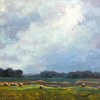 Landscape Oil Painting Hay Bales and Storm Clouds