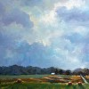Art Landscape Oil Painting Country Hay Field Christmas gift Wedding Gift Summer Road Home