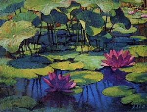 Lily Pond by Sharon Will  ~ Note Cards<br/ > 4.5&quot; x 6.25&quot;