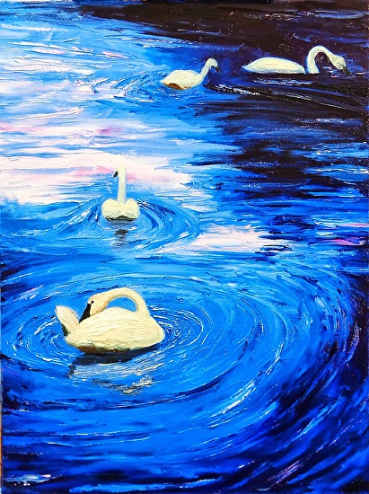 Fiour Tundra Swans - Oil Painting -