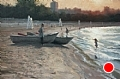 Sunset at Montrose Beach by Scott Tallman Powers Oil ~ 20 x 30