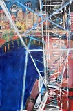 Big Wheel Turning by Suzanne DeCuir Oil ~ 36 x 24