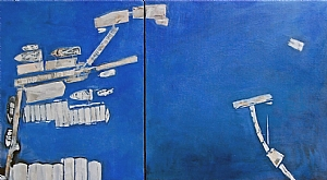 Moorage/Near Orcas (diptych) by Suzanne DeCuir Oil ~ 20 x 36