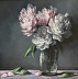 Peonies on Gray by christina dowdy