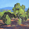 Holt- Search for the Secret Structure of Junipers VI- v2- 9x12- oil- 2014- plein air