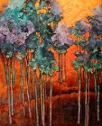 Blue Grove, 13023 by Carol Nelson mixed media ~ 30 x 24