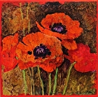 Batik Poppies 2,   13026 by Carol Nelson Acrylic ~ 12 x 12