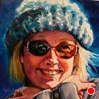 100 Portraits in 100 Days - Saundra, 75/100 by Carol Nelson Oil ~ 6 x 6