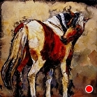 """GOT AN ITCH""  10167 by Carol Nelson Acrylic ~ 10 x 10"