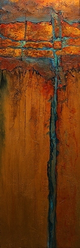 Copper Illusion 2, 11086 by Carol Nelson mixed media ~ 12 x 36