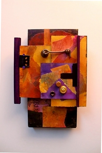 C1 - Latch Hook     12061 by Carol Nelson mixed media ~ 12 x 8