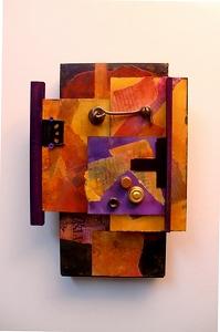 C1 - Latch Hook     12061 by Carol Nelson mixed media ~ 12 x 8