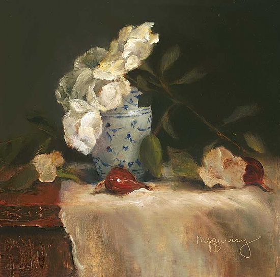 Roses and Blue Vase - Oil