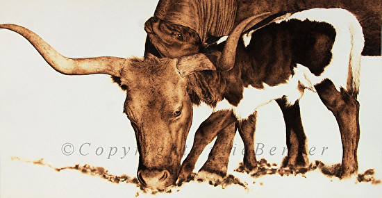 Squeeze Play (longhorn cow with calf) - Pyrography