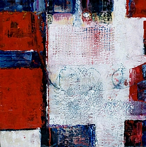 Red Squared by Linda Benton McCloskey Encaustic ~ 24 x 24