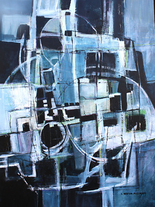 BLUE MAZE by Linda Benton McCloskey Acrylic ~ 48 x 36