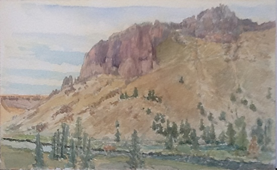 """""""Red Wall - Misery Ridge Trail"""" - Smith Rock State Park - Watercolor"""