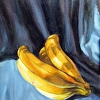 BANANAS ON BLUE CLOTH