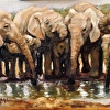 A SMALL PAINTING OF ELEPHANTS