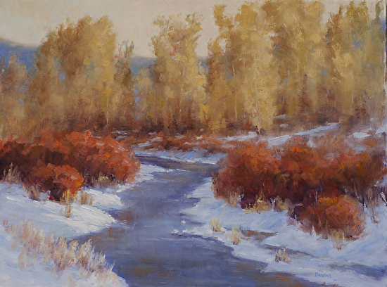 First Snow on Cottonwood Creek - Oil