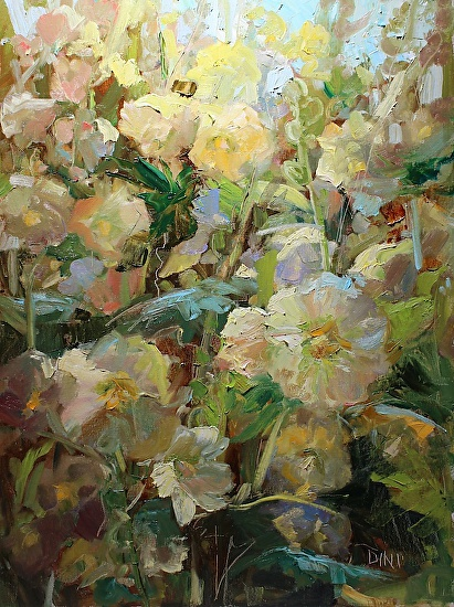 Dini's Yellow Hollyhocks - Oil