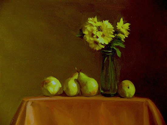 Delicate Mums with Pears - Oil