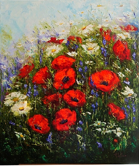 Among the Poppies - Oil