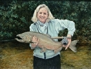 First Salmon!  Paula on the Manastee by Susan S. Birdwell Oil ~ 36 x 48