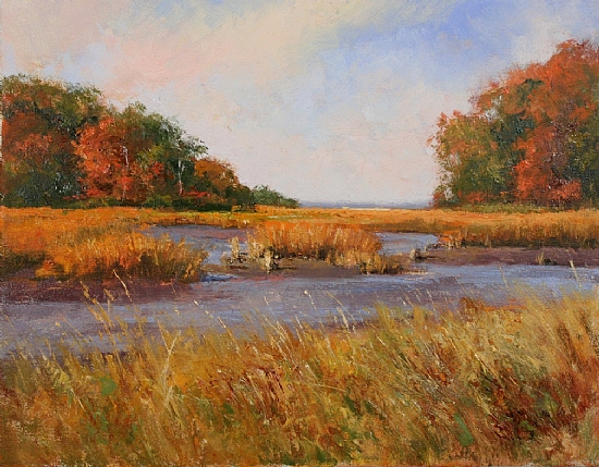 Autumn at the Marsh by Paul Bachem Oil ~ 8 x 10