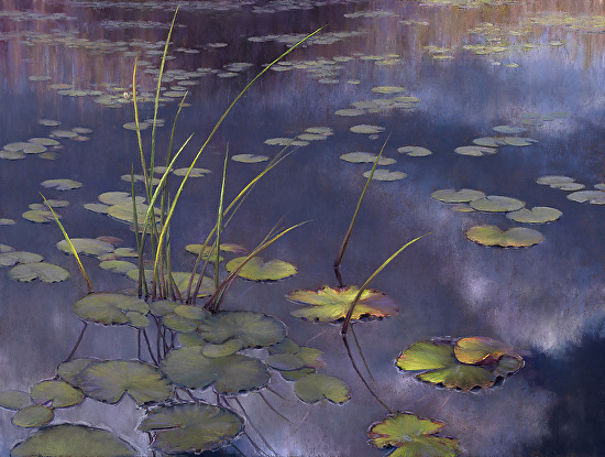 Late Light, Pond - Pastel