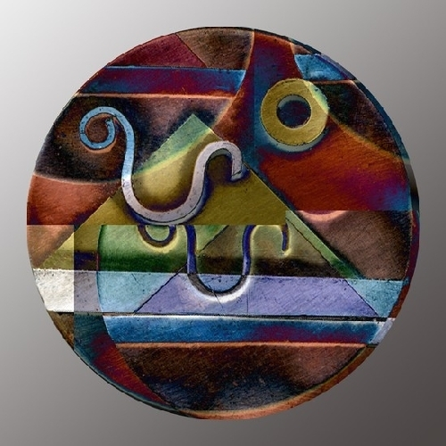 Circle pin 3 - (proposed) copper, acrylic, cold enamel