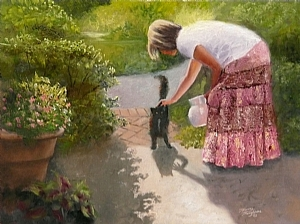 Always Pet the Cat by Tommy Thompson Oil ~ 18 x 24