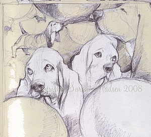 Bassets and Gum by Sarah Madsen Pen ~ 8 x 8