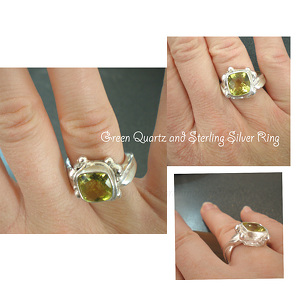 Green quartz  trio ad copy by Sarah Madsen Sterling Silver ~  x
