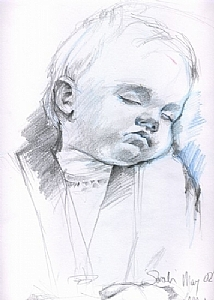 Sleep in Blue by Sarah Madsen Pencil ~ 14 x 11