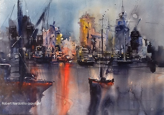 Evening Harbor - Watercolor