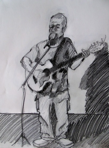 uncle scott doing his one man show during breaks by charles peck Pencil ~ 14'' x 11''