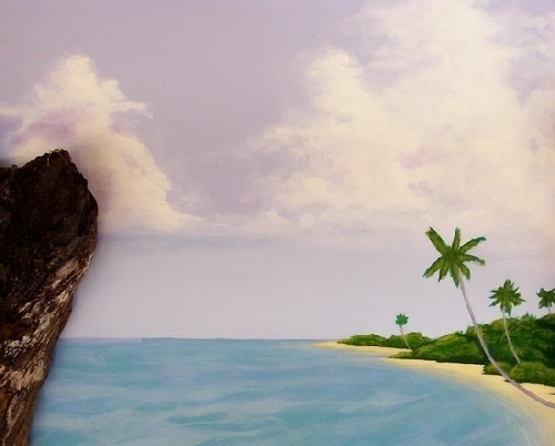 right side island close up by charles peck Acrylic ~ 4ft x 4ft