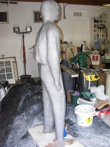 joe in the 1st stage of getting clay by charles peck Clay ~ 6ft 2in x 3ft approx
