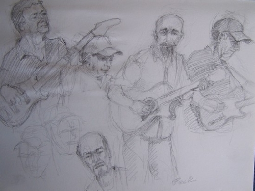 the Uncle Sott Band by charles peck Pencil ~ 9 x 12