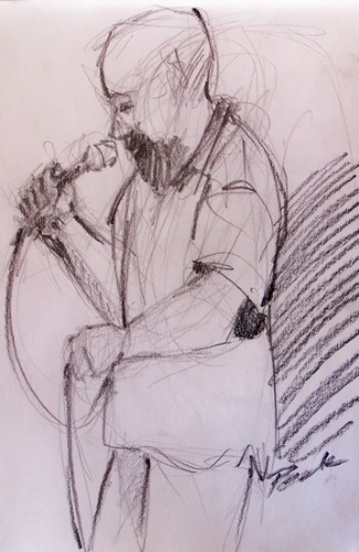 Scott belts another out by charles peck Pencil ~ 12 x 9
