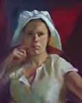 The Milkmaid by Mary Aslin Pastel ~ 14.5 x 12
