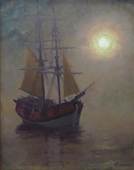 1214-interceptor, becalmed foggy midnight- 20x16 - Oil