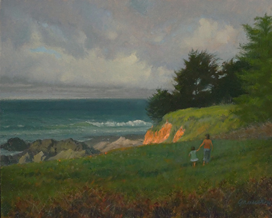 1418-16x20-mom and daughter, south of Half Moon Bay.jpg - Oil