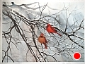 cardinals in winter by Tom Heflin lithograph print ~ 18 x 24