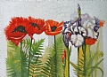 poppies with iris by Tom Heflin Watercolor ~  x