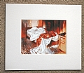 the bed by Tom Heflin lithograph print ~ 6 1/2 x 8 1/2