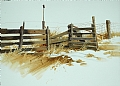 fenceline by Tom Heflin Watercolor ~ 18 x 28