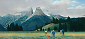 plein air tetons by Tom Heflin Acrylic ~ 15 x 30