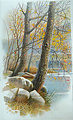 edge of the river by Tom Heflin Watercolor ~ 20 x 14